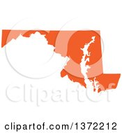 Clipart Of An Orange Silhouetted Map Shape Of The State Of Maryland United States Royalty Free Vector Illustration by Jamers