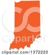 Orange Silhouetted Map Shape Of The State Of Indiana United States