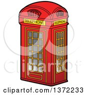 Clipart Of A Red British Telephone Booth Royalty Free Vector Illustration