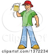 Clipart Of A Caucasian Man Cheering With A Beer Mug Royalty Free Vector Illustration