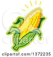 Clipart Of A Shining Ear Of Corn Royalty Free Vector Illustration