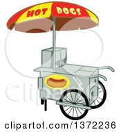 Clipart Of A Hot Dog Vendor Stand Royalty Free Vector Illustration by Clip Art Mascots
