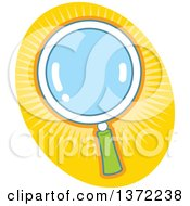 Clipart Of A Magnifying Glass Over A Yellow Oval Royalty Free Vector Illustration
