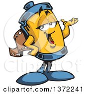 Clipart Of A Film Roll Mascot Presenting Royalty Free Vector Illustration