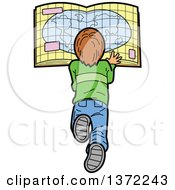 Clipart Of A Caucasian Boy Laying On The Floor And Reading A Map Royalty Free Vector Illustration by Clip Art Mascots