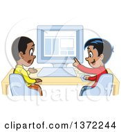 Clipart Of A Happy Hispanic Boy Discussing Something With A Black Boy At A Computer Royalty Free Vector Illustration