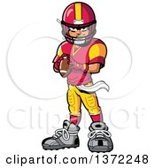 Clipart Of A Tough American Football Player Standing And Holding A Ball Royalty Free Vector Illustration