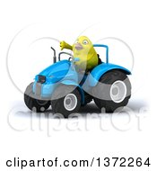 Poster, Art Print Of 3d Yellow Bird Operating A Blue Tractor On A White Background