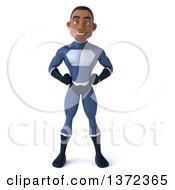 Clipart Of A 3d Young Black Male Super Hero In A Dark Blue Suit On A White Background Royalty Free Illustration by Julos