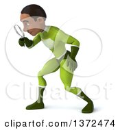Clipart Of A 3d Young Black Male Super Hero In A Green Suit On A White Background Royalty Free Illustration