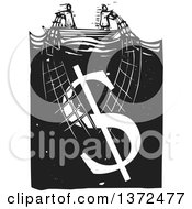 Clipart Of A Black And White Woodcut Couple Trying To Stay Afloat Pulling Up A Money Dollar Symbol With A Net Royalty Free Vector Illustration