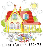 Clipart Of A Cute Gray And White Kitten Watching A Butterfly In A Flower Garden In The Yard Of A Home With A Shining Sun And Rooster On The Roof Royalty Free Vector Illustration