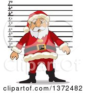 Clipart Of Santa Claus Getting A Christmas Mugshot Royalty Free Vector Illustration