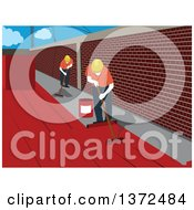 Clipart Of Construction Workers Waterproofing A Surface Royalty Free Vector Illustration