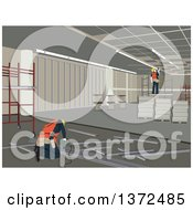 Clipart Of Construction Workers Working On An Interior Royalty Free Vector Illustration