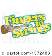 Clipart Of A Ukulele Instrument With Fingers To Strings Text Royalty Free Vector Illustration
