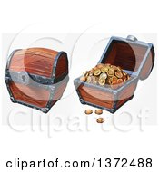 Closed And Open Treasure Chests With Gold Coins On An Off White Background
