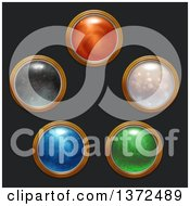Clipart Of Round Magical Icon Buttons On Black Royalty Free Illustration by Tonis Pan