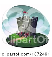 Medieval Castle Stronghold Tower With Guards On A White Background