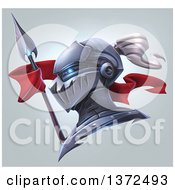 Clipart Of A Knight Helmet With Glowing Eye Sockets A Spear And Banner Over Gradient Royalty Free Illustration