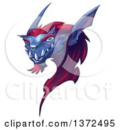 Clipart Of A Purple And Red Dragon Like Monster Head On White Royalty Free Illustration by Tonis Pan