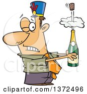 Cartoon Clipart Of A White Business Man Holding An Exploding Bottle Of Champagne At A New Year Party Royalty Free Vector Illustration
