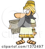Cartoon Clipart Of A Man Hammurabi Holding A Tablet Of The Code Of Hammurabi Royalty Free Vector Illustration