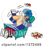Cartoon Clipart Of A White Male Hockey Player Or Fan Sitting In A Chair And Tossing Back Beer Cans Royalty Free Vector Illustration