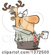 Cartoon Clipart Of A Happy Festive White Man Wearing Antlers And Holding A Drink At A Christmas Party Royalty Free Vector Illustration