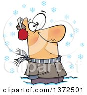 Cartoon Clipart Of A White Man Stuck In Snow Watching Snowflakes Fall Down Royalty Free Vector Illustration by toonaday
