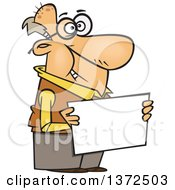 Cartoon Clipart Of A Happy White Senior Man Holding A Blank Sign Royalty Free Vector Illustration