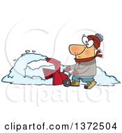 Cartoon Clipart Of A White Man Operating A Snow Blower On A Winter Day Royalty Free Vector Illustration by toonaday