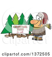 Cartoon Clipart Of A Happy White Man Selling Christmas Trees At A Lot Royalty Free Vector Illustration by toonaday