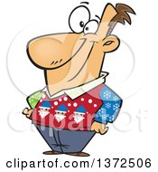 Cartoon Clipart Of A Happy White Man Wearing An Ugly Christmas Sweater Royalty Free Vector Illustration by toonaday