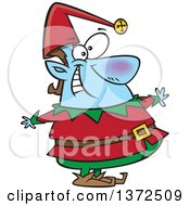 Cartoon Clipart Of A Happy Blue Fat Christmas Elf Royalty Free Vector Illustration