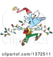 Cartoon Clipart Of A Blue Christmas Elf Running With A Strand Of Lights Royalty Free Vector Illustration by toonaday