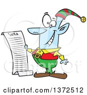 Cartoon Clipart Of A Blue Christmas Elf Reading Santas List Royalty Free Vector Illustration by toonaday