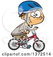 Cartoon Clipart Of A Caucasian Boy Wearing A Helmet Grinning And Riding A Bicycle Royalty Free Vector Illustration by toonaday