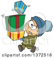 Cartoon Clipart Of A Nervous Caucasian Boy Carrying A Shaky Stack Of Christmas Gifts Royalty Free Vector Illustration by toonaday