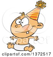 Cartoon Clipart Of A Happy New Year Caucasian Baby Sitting In A Diaper And Wearing A Party Hat Royalty Free Vector Illustration
