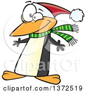 Cartoon Clipart Of A Christmas Penguin Wearing A Scarf And Santa Hat Royalty Free Vector Illustration by toonaday