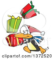 Cartoon Clipart Of A Christmas Penguin Running With A Stack Of Gifts Royalty Free Vector Illustration by toonaday