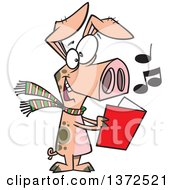 Cartoon Clipart Of A Festive Pig Singing Christmas Carols Royalty Free Vector Illustration