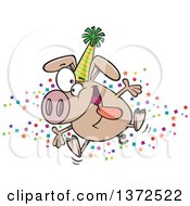 Cartoon Clipart Of A Hyper Pig Wearing A Party Hat And Celebrating The New Year Royalty Free Vector Illustration by toonaday