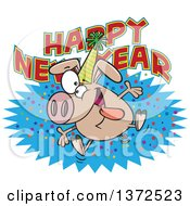 Cartoon Clipart Of A Hyper Pig Wearing A Party Hat And Jumping Over A Happy New Year Greeting Royalty Free Vector Illustration by toonaday