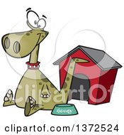 Cartoon Clipart Of A Happy Green Pet Dinosaur Sitting By A Food Bowl And House Royalty Free Vector Illustration by toonaday