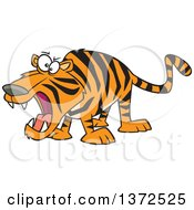 Cartoon Clipart Of A Roaring Angry Tiger Royalty Free Vector Illustration