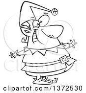 Cartoon Clipart Of A Black And White Happy Fat Christmas Elf Royalty Free Vector Illustration