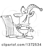 Cartoon Clipart Of A Black And White Christmas Elf Reading Santas List Royalty Free Vector Illustration by toonaday