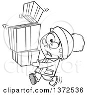 Cartoon Clipart Of A Black And White Nervous Boy Carrying A Shaky Stack Of Christmas Gifts Royalty Free Vector Illustration
